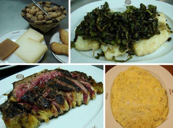 Menú de sidrería. Sagardotegia. Tortilla de bacalao, chuleta a la brasa, bacalao frito con pimientos y queso con nueces y membrillo
